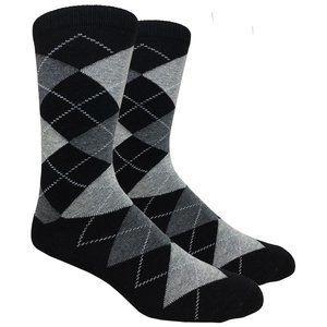 Men's Black Printed Argyle Dress Socks